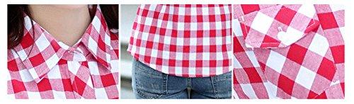 Monika Mode Grille Longues Chemises Manches Automne Tee Shirts Printemps Slim Rouge8 Casual Tops Revers et Hauts Femmes Blouses Chemisiers rz67xnrq