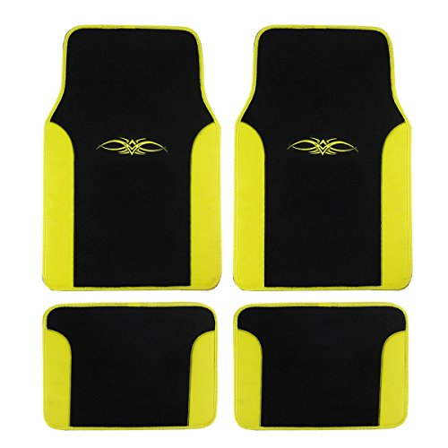 - A Set of 4 Universal Fit Plush Carpet with Vinyl Trim Floor Mats for Cars/Trucks (Yellow)
