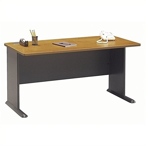 Bush Business Furniture Series A 60W Desk in Natural Cherry and Slate ()