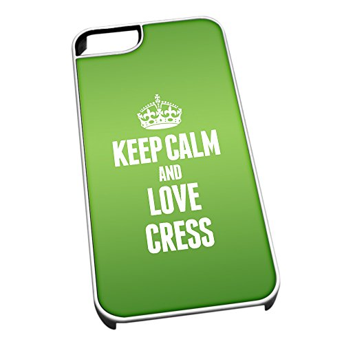 Bianco cover per iPhone 5/5S 1010 verde Keep Calm and Love crescione