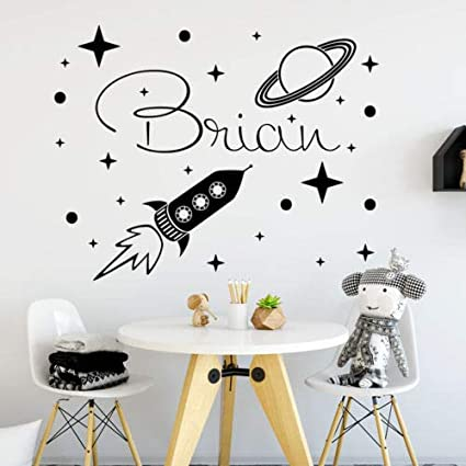 Amazoncom Diuangfoong Personalized Name Wall Decal Rocket Decals