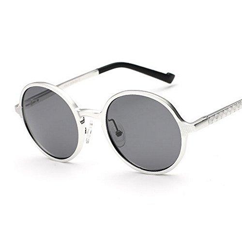 Plata polarizadas Yxsd Estilo Plata Sol para La Hombres Gafas Inspirado Retro Círculo Unisex Estilo Steampunk Redondo Color de La Mujeres Metal SunglassesMAN de y 1q6wff