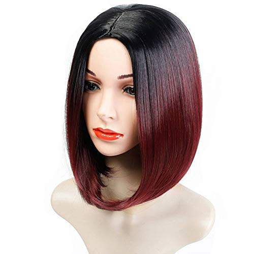 ZXtress Short Straight Hair Synthetic Black Middle Part Bob Wigs for Women Realistic Glueless Natural Looking 12 Inches Shoulder Length Wig Heat Resistant -