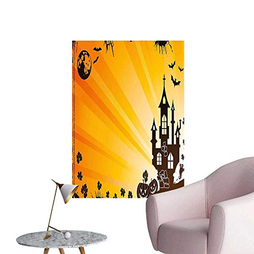 Wall Decor for Home Living Room Halloween Scene with Haunted Gothic Castle Bats Ghost Theme Pumpkins Ora Safe Painted Wall Decoration,12