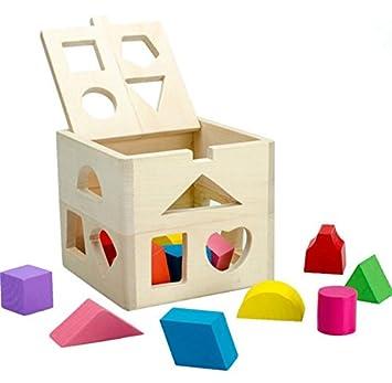 cf0fc80cfe03aa Upstudio Pädagogisches kreatives Holzspielzeug Buntes hölzernes  Form-Sortierer-geometrisches sortierendes Kasten-pädagogisches Form
