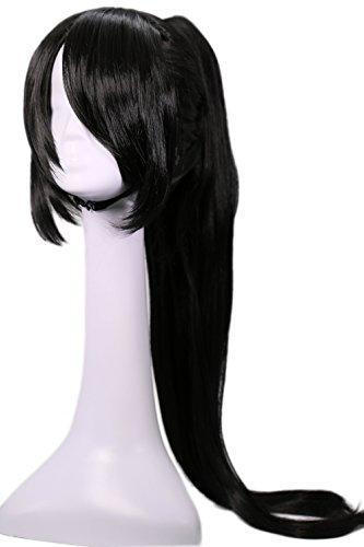 Elektra Costumes Adults (Elektra Wig Devil Cosplay Costume Black Long Straight Hair Accessories)