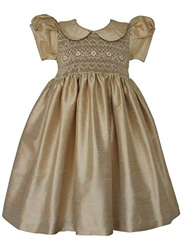 Carouselwear Golden Silk Hand Smocked Pageant Flower Girls Dress
