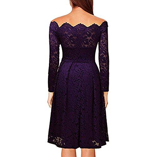 de larga noche vestido fiesta hombros las la vestido Púrpura vestido formal descubiertos de manga de fiesta vendimia mujeres escote vestido mujer de de coctel elegante AIMEE7 Vestido ZW7UnC