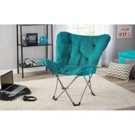 Mainstays Collapsible Butterfly Chair with Soft Microsuede Fabric, (Teal) (Kids Butterfly Chairs)