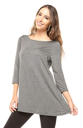 (Free to Live Women's Flowy Elbow Sleeve Jersey Tunic Blouse Top Made in USA (XL, Charcoal))