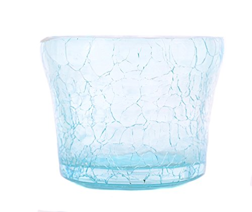 MystiqueDecors Cute Little Tealight Votive Candle Holders Glass Votives Crackled Finish, Aqua Blue Color Set of 4 for Decorations on Thanksgiving Christmas Gift