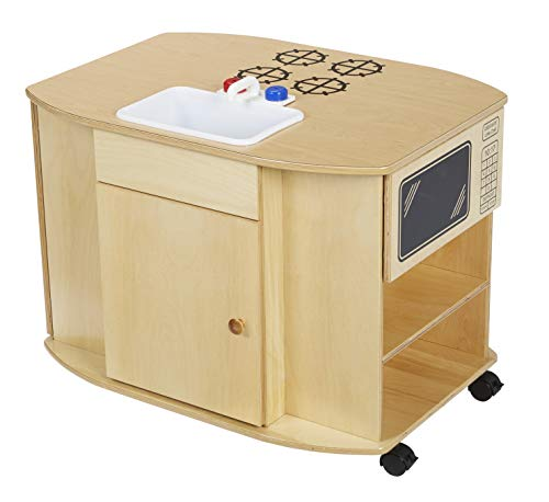 Childcraft Mobile Compact Kitchen Island with Locking Casters, 32 x 23-1/2 x 24-3/8 Inches