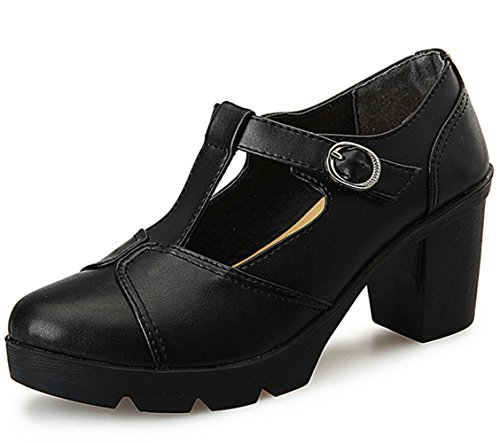 DADAWEN Women's Classic T-Strap Platform Mid-Heel Square Toe Oxfords Dress Shoes Black US Size 10 (10 Black Dress Shoes Womens)