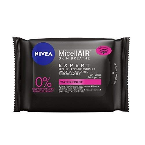 Nivea Micell AIR Skin Breathe Expert Mizellen Reinigungstücher Gesicht-Augen, Für Wasserfestes Make Up, 3er Pack (3 x 20 Tücher)