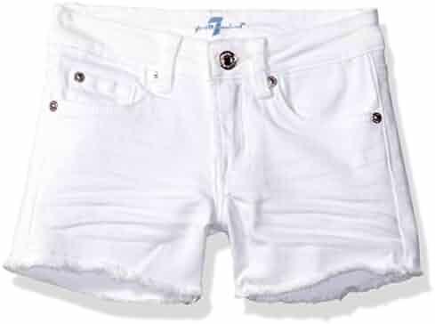 7 For All Mankind Big Girls' 5 Pocket Raw Edge Hem Jean Short