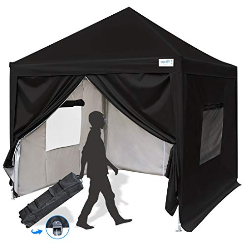 (Quictent Upgraded Privacy 8x8 ft Easy Pop Up Canopy Tent Instant Folding Canopy with Sides Walls Waterproof Black)