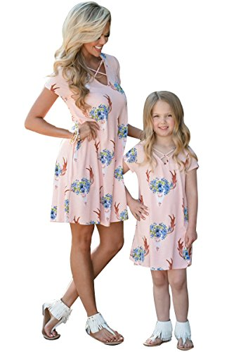 Mommy Parent Dress Family Dress YMING Clothes Me and Shirt Child Matching Flower Outfits Pink dtxpqq10w