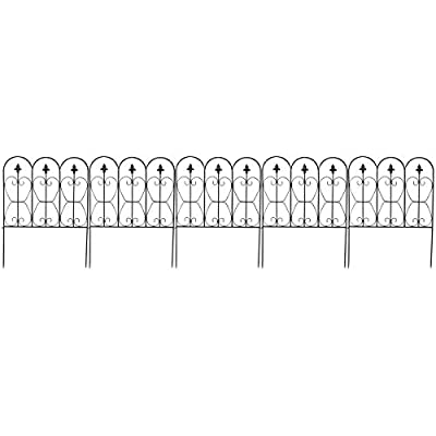 Giantex Garden Fence 32in x 10FT Folding Decorative Border Fence Set of 5 Coated Metal Panels Lightweight Ourdoor Patio Edge Fence