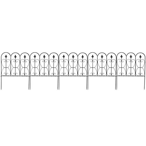 Giantex Garden Fence 32in x 10FT Folding Decorative Border Fence Set of 5 Coated Metal Panels Lightweight Ourdoor Patio Edge Fence (Decorative For Fencing Metal Gardens)