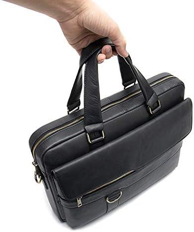 TOLYMOMO ビジネスバッグ 本革 男性用 手提げバッグ 斜め掛け ショルダー 肩掛け 2WAY 14インチPC収納 通勤