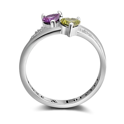 2 Simulated Birthstones Promise Rings for Her Love Forever Engraved Choose Your Color Engagement Rings (Jul-Sep, 7) by Diamondido (Image #4)'