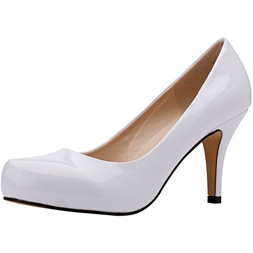 fereshte Women's Style Fashion Office Lady Shoes Patent Leather Round-Toe Stiletto High Heels Pumps White Nkw2N4T
