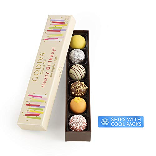 - Godiva Chocolatier Happy Birthday Cake Chocolate Truffle Flight, Great for any gift, Birthday Gift, Easter Gifts, Easter Baskets, Easter Chocolate, 6 Count