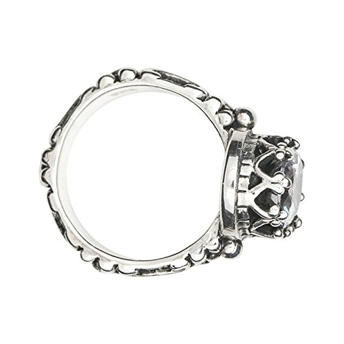Beydodo Mens Silver Ring, Round Cubic Zirconia Crown Ring for Women Size 4.5 Mens Rings Hip Hop by Beydodo