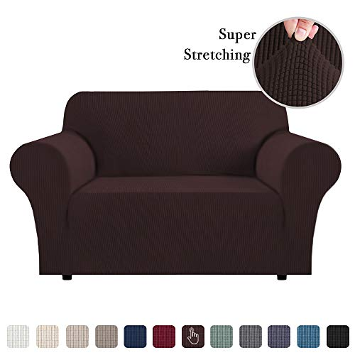Flamingo P Stretch Sofa Slipcover 1 Piece Sofa Covers for 2 Cushion Couch Slipcovers Machine-Washable Sofa Slipcover for Loveseat, Jacqaurd Spandex Sofa Slip Cover for Leather (2 Seater, Brown) (Oversized Kitchen Chair Cushions)