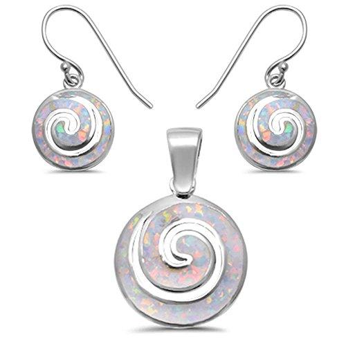 Sterling Silver Lab Created White Opal Swirl Earring & Pendant set 1