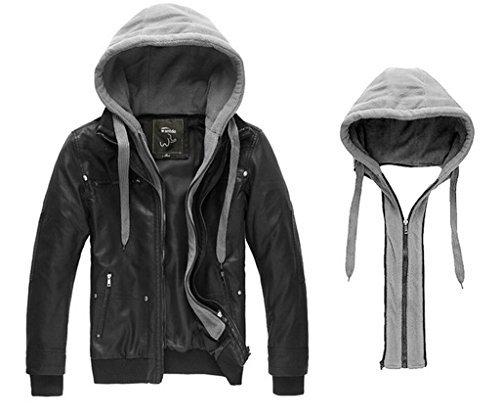 WantDo Men's Fashion Faux Pu Leather Jackets