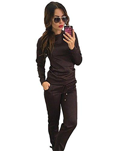 YiLianDa Mujeres Casual Sudadera Conjuntos Deportivos Sweatshirt Camiseta Tops Largo Pantalones como la imagen