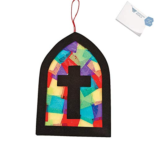 Bargain World Tissue Paper Cross Stained Glass Window Craft Kit (With Sticky -