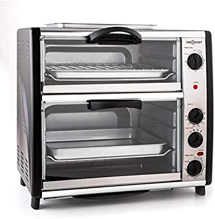 oneConcept All-You-Can-Eat Horno eléctrico doble - 2 cámaras de cocción, Parrilla superior, Capacidad Total 42 L, 2400 W, Temperatura: 60-240°C, ...