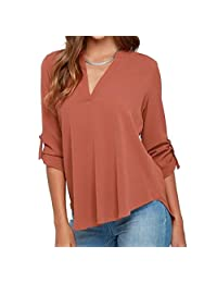 Elonglin Womens Tunic Long Sleeve Tops Blouse V-Neck Loose Fit
