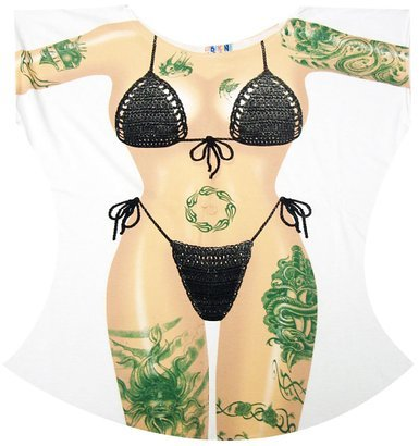 Tattoo Macrame Bikini Cover-Up T-Shirt Size L/XL