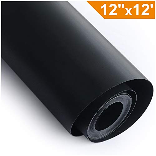 Heat Transfer Vinyl HTV for T-Shirts 12 Inches by 12 Feet Rolls (Black)