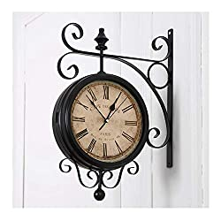 #Clocks Double Sided Wall Clock European Vintage Decorative Indoor On Bracket Wrought Iron Scroll 360 Degree Rotation Dining Rooms Quartz Clocks Black Silent Wall Clock (Color : B)