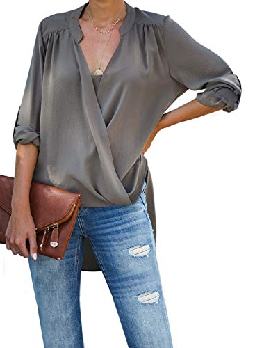 Dokotoo Womens Plus Size Female Cuffed Long Sleeve V Neck Drape Wrap Front Layered High Low Fashion 2019 Loose Blouses Casual Tops Long Shirts Tunic for Women Gray X-Large