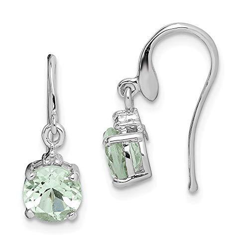 (925 Sterling Silver Green Quartz Diam Wire Drop Dangle Chandelier Earrings Fine Jewelry Gifts For Women For Her)