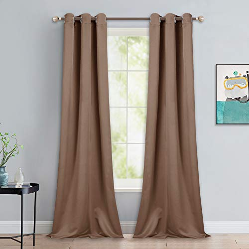 NICETOWN Light Reducing Grommet Curtains - Tripe Woven Textured Soft Curtain Panels for Living Room Window Treatment Drapes (2 Panels, W42 x L90, Cappuccino) (Lined Curtains Burlap)