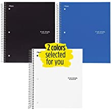 """Five Star Spiral Notebooks, 3 Subject, College Ruled Paper, 150 Sheets, 11"""" x 8-1/2"""", Colors Selected For You, 2 Pack (73015)"""