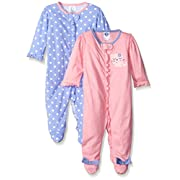 Gerber Baby Girls' 2 Pack Zip Front Sleep 'n Play,Leopard,3-6 Months