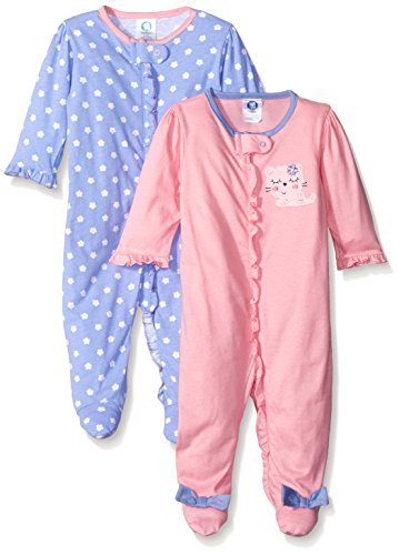 Gerber Girls' 2 Pack Zip Front Sleep 'N Play, Leopard, Newborn