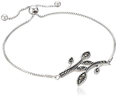 Swarovski Marcasite Sterling Silver Vine with Braided Border Adjustable Slider Bracelet ()