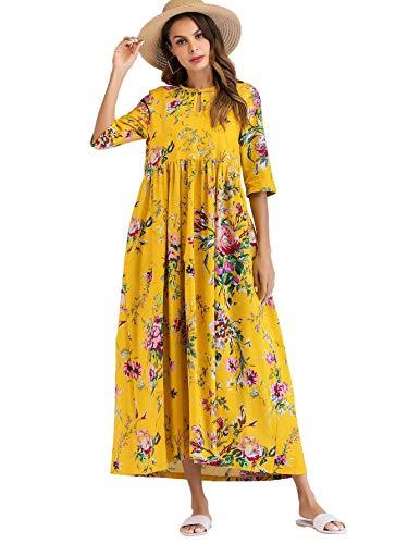(Milumia Women Floral Print Smock Keyhole Neck Half Sleeve Loose Tunic Maxi Dress Yellow-2 M )