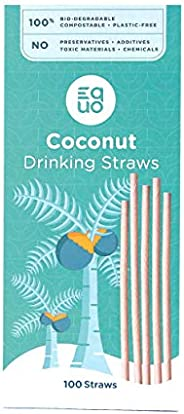 Coconut Straws - EQUO Sustainable Straws - Made from Coconut - Each straw is 100% Biodegradable, Natural, Comp