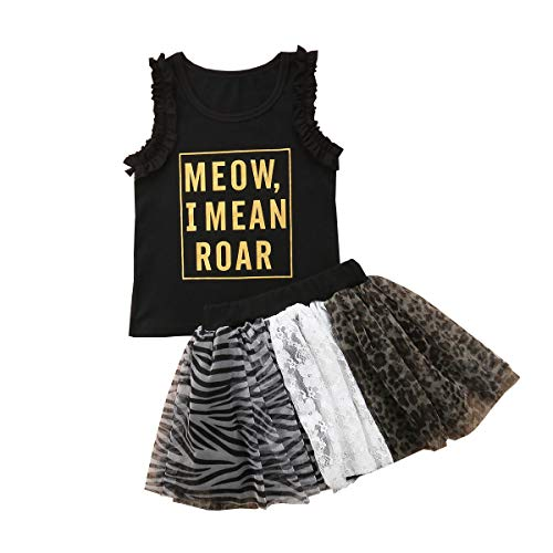 Toddler Baby Girls Short Sets Summer Sleeveless Black Cute Letter Printed T-Shirts + Tiger Stripes and Leopard Sequins 2Pcs (Black, 3-4T)]()