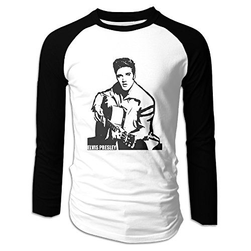 (Creamfly Mens Elvis Presley Guitar Long Sleeve Raglan Baseball Tshirt)