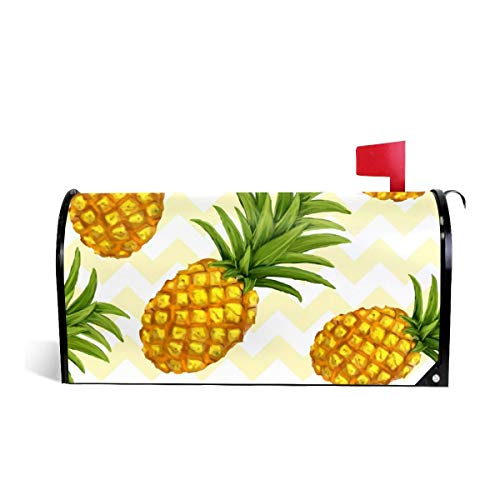 (SSERFT Pineapple Pattern Welcome Magnetic Mailbox Cover Wraps Standard Size MailWrap for Outside Garden Home Decor 25.5x21 in )